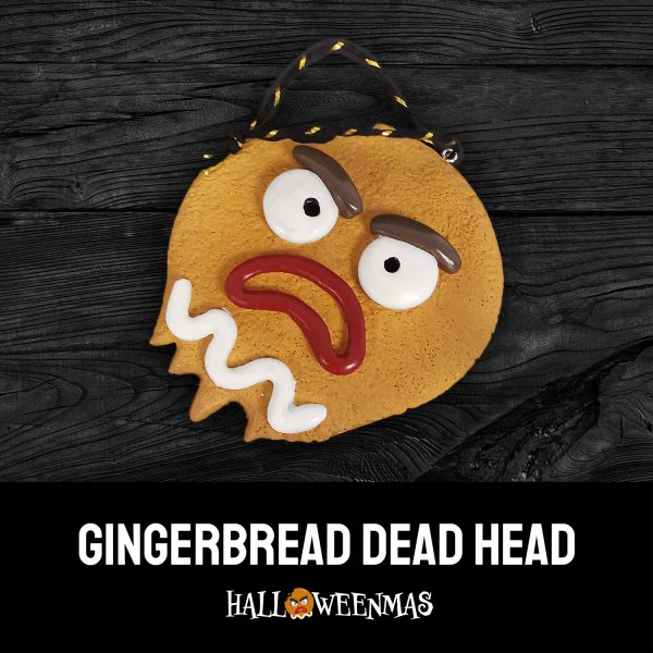 Photo of Christmas tree ornament of a gingerbread man head