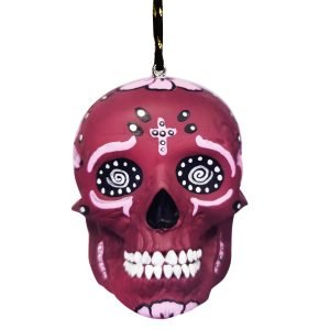 Photo of purple skull ovPhoto of purple skull ornament with painted detailsrnament with painted details