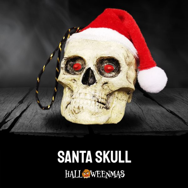 Photo of skull ornament with red eyes and santa hat