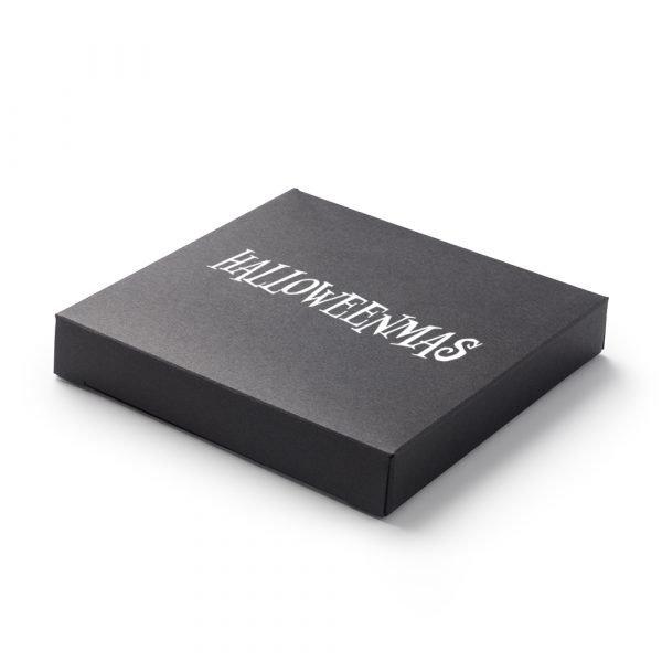 Photo of small black box with Halloweenmas wording on it
